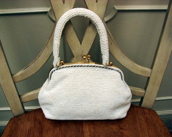Vintage 1960s Petite White Beaded Hand Bag Made In Hong Kong