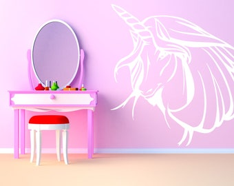 Wall Art Vinyl Sticker Tribal Unicorn Horse Pegasus Mythical Creature Magical Animal Fairy Tail Legend Pony Poster ZX169
