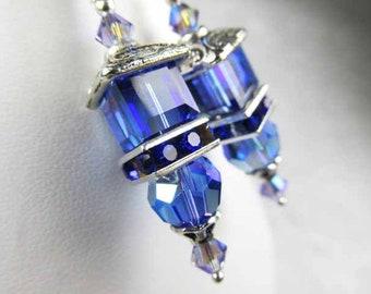 Swarovski Crystal Blue Sapphire AB Cube Lantern Earrings on Fancy Sterling Silver Silver Wires