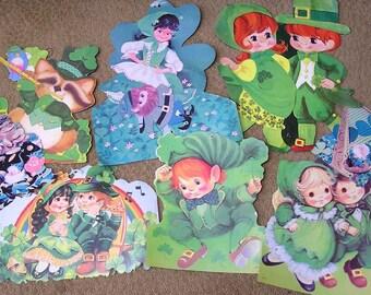 Vintage LOT NINE St Patricks Paper Diecuts Circa 1970s Leprechauns Lads Lassies