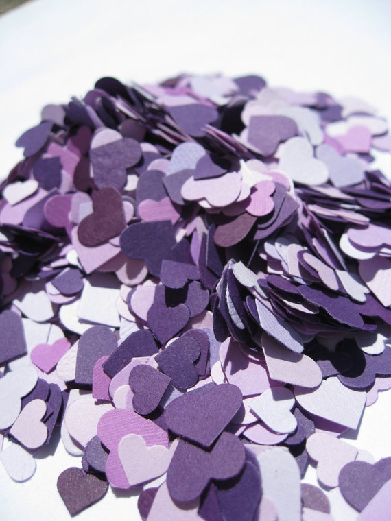 Over 3000 Mini Confetti Hearts. Shades of Purple, Lavender, Iris, Lilac, Royal. Weddings, Showers, Decorations. ANY COLOR Available.
