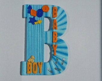Baby boy, nursery decor, baby shower gift,  large wall letter, door hanger , monogram letter,  baby shower, home decor, ready to ship