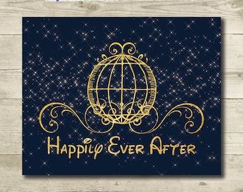 Disney Wedding // Cinderella Wedding // Cinderella Bridal Shower // Happily Ever After // PRINTABLE // 8x10 // Disney Art Print // Fairytale
