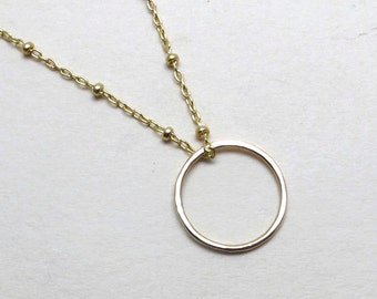 Gold filled circle necklace, Hammered gold circle on thin beaded gold filled chain