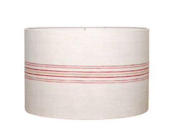 Red Stripe Grain Sack Drum Shade - Farmhouse Style - Lampshade - Antique Grain Sack - Industrial Loft - Rustic Lamp Shade