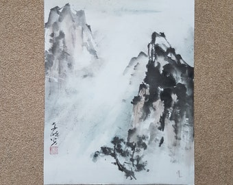 Original Chinese landscape painting: Yellow mounting in the mist