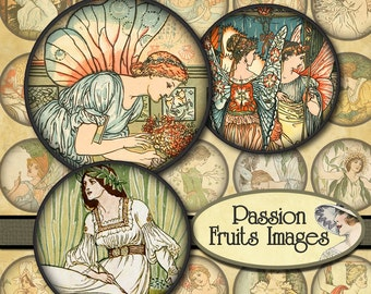 Angels Fairies and Princess images 1.25 inch rounds  Digital Collage Sheet-- Instant Download