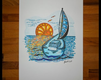 Original Abstract Pen and Ink Drawing on Paper // The Setting Sails // House Warming Gift // Ready to Frame Art