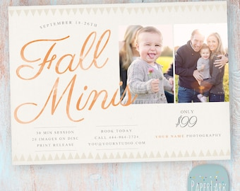 Fall Mini Sessions - Photography Marketing Board - Photoshop template - IW020- INSTANT DOWNLOAD