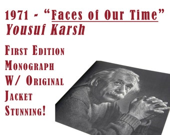 "Coffee Table Portrait Photography Book, ""Faces of Out Time"", Yousuf Karsh, 1971 First Edition, Monograph, Picasso, O'Keefe, Einstein, Keller"
