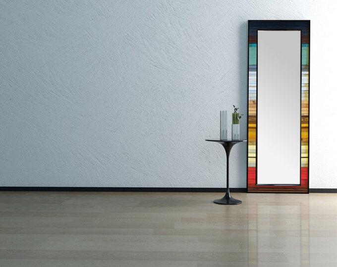 "Reclaimed Wood Leaner Mirror - 25x70"" - Floor Mirror - ""Gradient Reflection""- Modern Wood Wall Art- Wood Sculpture - Abstract Wood Mirror"