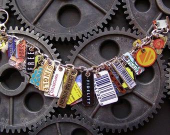 One of a Kind Recyled tin Charm Bracelet