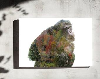 Chimpanzee Double Exposure - Canvas Print - Multiple Sizes