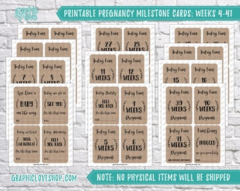 Digital Pregnancy Milestone Cards, Weeks 4-41 | Maternity Cards, Pregnant, Weekly | PDF, Instant Download, NOT Editable, Ready to Print