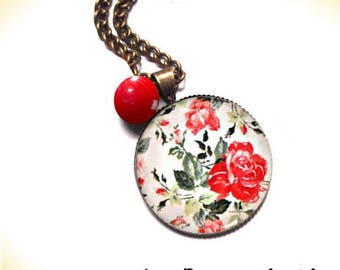 NECKLACE BRONZE rose red and multicolored metal and glass dome