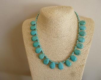 Turquoise TearDrop Pendant,  Silver Native American Southwestern Navajo Necklace