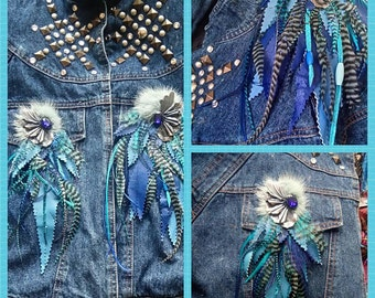 2 applications jewelry leather-blue feathers