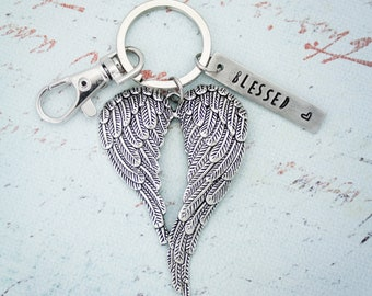 Angel Wing Key Chain, Angel Wing Blessed Heart KeyChain, Angel Wing Key Fob, Angel Key Ring, Double Angel Wings,  Hand Stamped Personalized