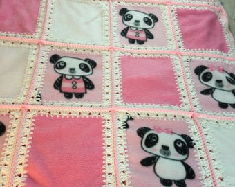 Fleece blanket Pink and white panda bear, granny square, lap blanket, baby blanket