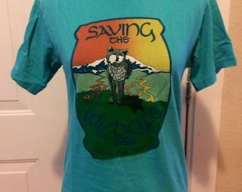 Vintage mens/womens save the wildlife 1980's T shirt. Size small