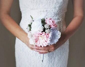 Anemone,  Rose, and Peony Felt Wedding Bouquet - Felt Bridal Bouquet, Felt Wedding Bouquet