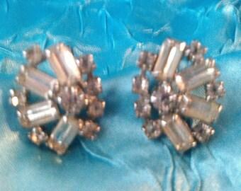 Vintage 1950's Rhinestone Screw Back Earrings