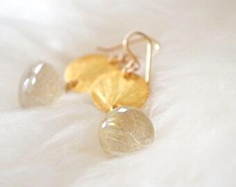 Golden Rutilated Quartz Earrings Disc Earrings Gold Earrings Simple Gold Earrings