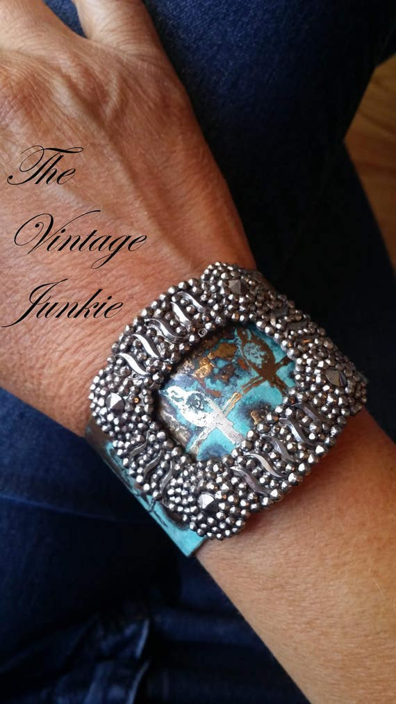 The Vintage Junkie...Etched Brass Cuff with Vintage French Steel Cut Buckle Embellishment