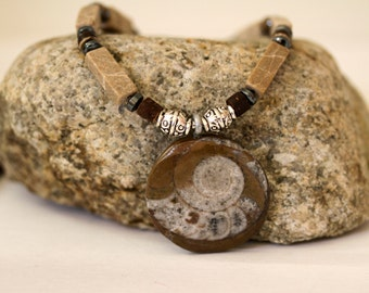Men's Light Tan Feldspar, Chocolate Wood, Hematite and Fossilized Ammonite Pendant Necklace