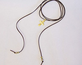 Long leather Necklace with Hammered Gold Cross