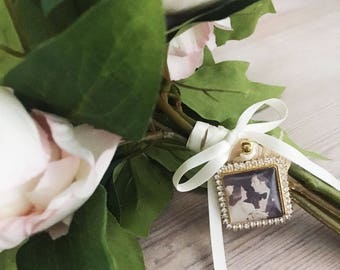 Bouquet Photo Square Charm , Wedding Bouquet Photo Charm, Rhinestone Memorial Photo Charm, Rhinestone Photo charm, Bouquet Photo Jewelry