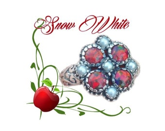 Snow White Opal And Pearl Antiqued Sterling Silver Ring Size 6