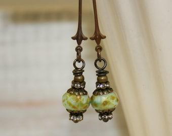 Green Picasso Earrings, Picasso bead earrings, Long dangle earrings