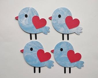 Blue Bird, Paper Bird, Blue Paper Bird, Love Bird Die Cut, Bird Cutout, Bird Embellishment, Card Decoration, Scrapbook Decor - Set of 4