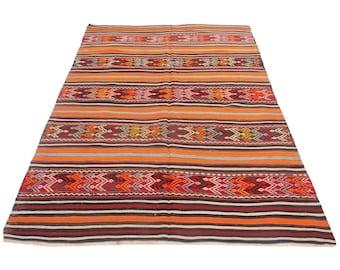 turkish kilim rug, striped rug, orange rug, embroidered rug, 5x7 floor rug, tribal rug, traditional rug, kitchen rug. southwestern decor