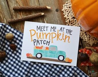 Fall Art, Fall Decor, Meet me at the Pumpkin Patch, Happy Fall, Seasonal Decor, Autumn, Vintage pick-up truck, Illustration, Pumpkins