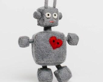 Robot Ornament, Heart Bot Robot, Felt Christmas Ornament