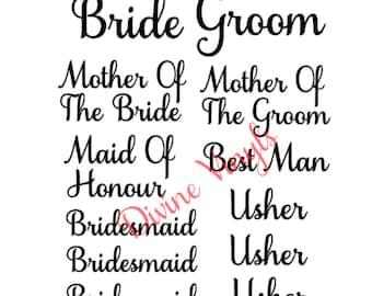 Wedding Vinyl Decals - Wine Glass - Gifts - Bride - Groom - Glass
