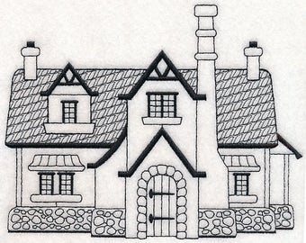 ICONIC ENGLISH COTTAGE In Blackwork Machine Embroidered Quilt Square, Art Panel