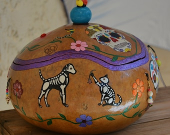 Day of the Dead Gourd Bowl with Lid