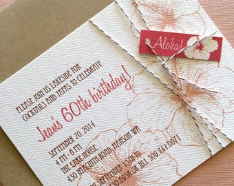 CUSTOM Order: Vintage Hawaiian invitation, coral and pink, set of 70