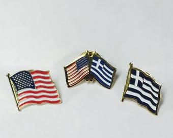 Greek - American Flag Pin Set