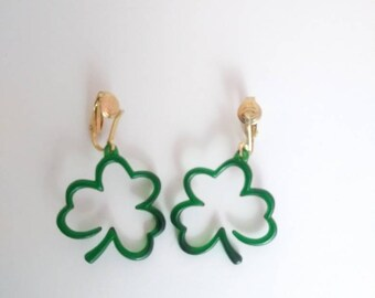 Vintage Shamrock Clip on St. Patrick's Day Earrings Four Leaf Clover Green Shamrock Irish Earrings