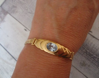 "Gold Over Sterling Serpentine Chain Bracelet with Blue Topaz Stone, 8"" Long, 12 Grams"