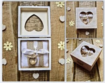 Personalised Rustic Heart Window Ring Box