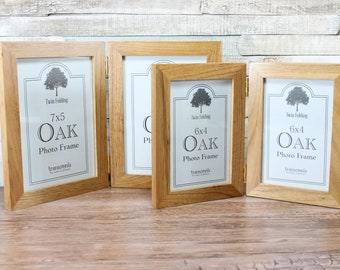 Oak Twin Folding Photo Frame 6x4 or 7x5