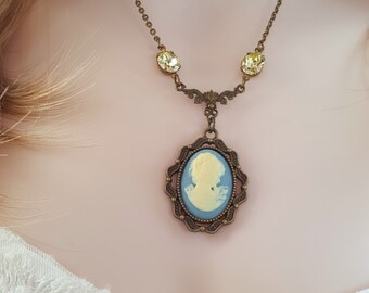Blue Cameo Necklace, Ivory Victorian Jewelry, Citrine Crystal Jewelry, Jonquil Yellow Necklace, Mother Of The Bride Groom Necklace, N6200