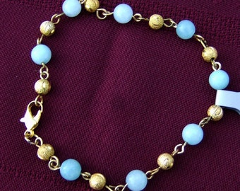 Wire Wrapped Bracelet - Exquisite Chrysoprase Aqua Bead Links with Gold Stardust by JewelryArtistry - BR598