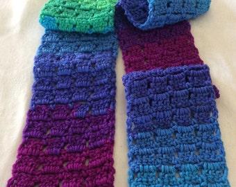 "FREE SHIPPING Crochet Scarf, Crochet Scarf Stripes 5"" x 60"""
