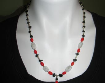 Beaded Gem Stone Necklace, Red, White and Black